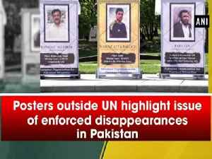 Posters outside UN highlight issue of enforced disappearances in Pakistan [Video]