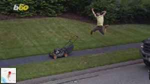 Google Maps Captures Hilarious Man Jumping Mid-air Celebrating Mowing The Lawn? [Video]