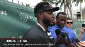 UM offensive coordinator Thomas Brown talks about the Hurricanes game against Toledo [Video]