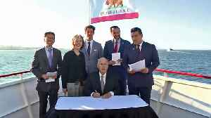 News video: Raw Video: Gov. Brown Signs Bills Aboard Electric Ferry