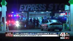 Driver crashes into BP convenience store, flees scene [Video]