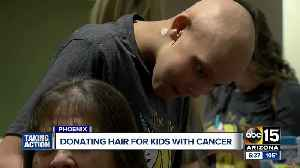 Patients donate hair at Phoenix Children's Hospital for children with cancer [Video]