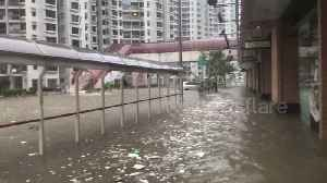 Residential estate completely flooded after Typhoon Mangkhut's historical rainfall in Hong Kong [Video]