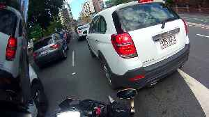 Motorcycle, Car Door Close Call [Video]