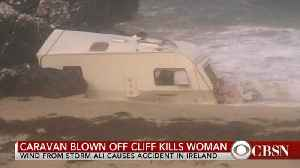 Woman dies after Storm Ali blows caravan off cliff in Ireland [Video]