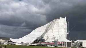Storm Ali violently rips away huge marquee tent [Video]
