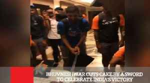 Bhuvneshwar Cuts Cake By A Sword To Celebrate India's Victory [Video]