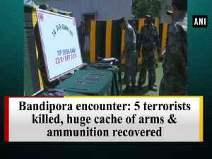 Bandipora encounter: 5 terrorists killed, huge cache of arms & ammunition recovered [Video]