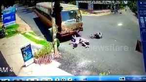 Three 'drunk' men on motorbike escape death in head-on collision with bus [Video]
