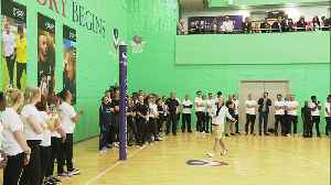 Meghan shows off her netball skills in Loughborough [Video]