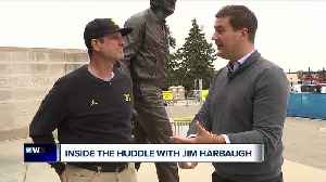 Inside the Huddle with Jim Harbaugh: Nebraska win, Tiger Woods [Video]