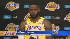 LeBron Makes First Media Appearance In Lakers Uniform [Video]