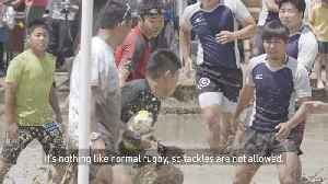 Rice field rugby in Japan! [Video]