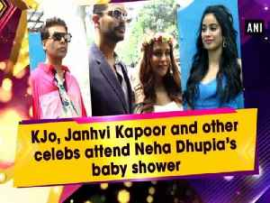 KJo, Janhvi Kapoor and other celebs attend Neha Dhupia's baby shower [Video]