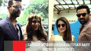 Zaheer Attends Neha Dhupia's Baby Shower With Wife [Video]