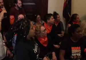 Protesters Against Kavanaugh Nomination Arrested Outside Senator Flake's Office [Video]