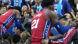 Joel Embiid Kisses Fan After K O 'ing Him With A Blocked Shot [Video]