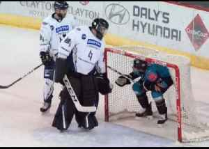 Belfast Ice Hockey Player 'Scores' by the Seat of His Pants [Video]