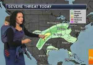 Meteorologist Delivers Forecast With a Baby on Her Back [Video]