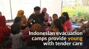 News video: Evacuation camps in Palu keep children occupied