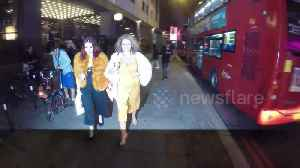 """Nadia Sawalha poses for photographers, jokes that her bra's been """"flashing"""" her """"all night"""" [Video]"""