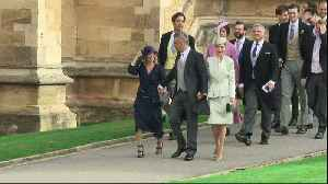 News video: Robbie Williams and wife Ayda Field arrive for royal wedding