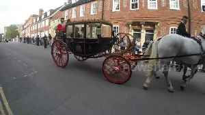 News video: Princess Eugenie and husband Jack Brooksbank leave wedding in horse-drawn carriage
