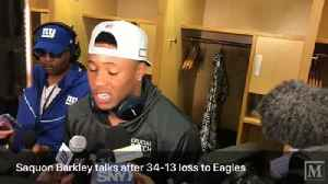 Saquon Barkley talks to media after he had a big night against the Eagles [Video]