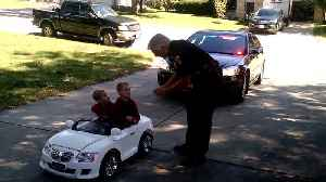 Portage Police Chief pulls over kids in toy car [Video]