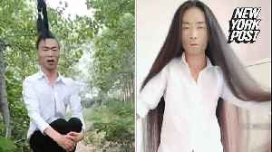 Behold this man's hair-raising 'brush' with fame [Video]