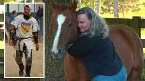 Widow Hugs Horse Her Late Husband Was Riding When He Was Impaled by Spear [Video]