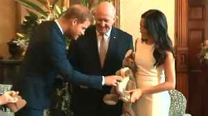 News video: Meghan Markle and Prince Harry Given Stuffed Kangaroo and Uggs as Baby Gifts