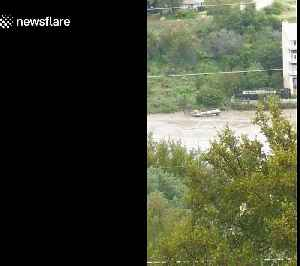Boat dock floats down river during historic flood in Marble Falls, Texas [Video]