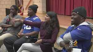 NY Giants Players Educate Students About Effects Of Domestic Violence [Video]