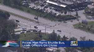 Man Arrested After Ramming Airport Shuttle, Leading Police On Chase [Video]