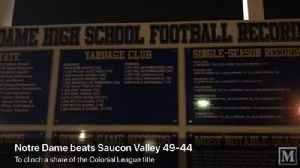Highlight from a memorable 49-44 Notre Dame win over Saucon Valley to earn a share of Colonial League championship [Video]