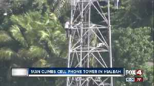 Man climbs cell phone tower in Hialeah [Video]