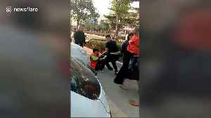 Cleaner gets beaten up after stopping boy from defecating on street [Video]