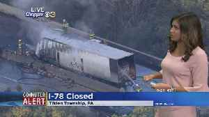 TRAFFIC ALERT: Tractor-Trailer Fire Shuts Down Portion Of I-78 [Video]