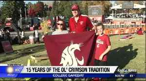 Original Ol' Crimson flag waver in Pullman for College GameDay [Video]