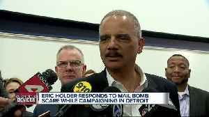 Eric Holder responds to mail bomb scare while campaigning in Detroit [Video]