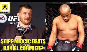 Stipe Miocic will get the win over Daniel Cormier because he is more athletic and bigger,Gaethje [Video]