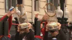 Thrown Beer Can Damages Red Sox World Series Trophy [Video]