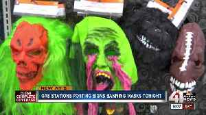 Gas stations post signs banning masks on Halloween [Video]