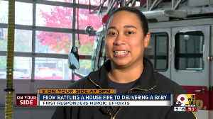 EMT leaves fire to deliver baby across street [Video]