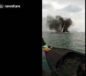 Nine British tourists rescued from burning yacht after it was struck by lightning [Video]