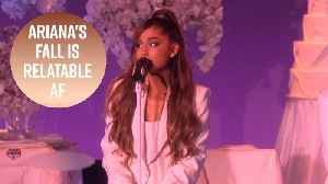 Ariana Grande trips & cries in perfect performance [Video]