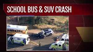 One rushed to hospital after car collides with school bus in north Scottsdale [Video]
