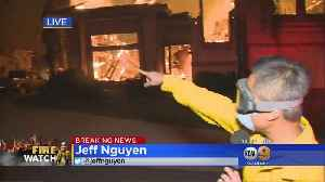 KCAL9's Jeff Nguyen Braves Raging Woolsey Fire In Oak Park [Video]