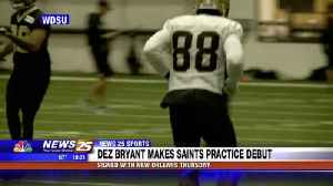Dez Bryant makes Saints practice debut [Video]